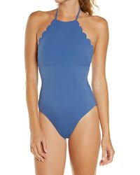Chelsea28 High Neck Scalloped One-piece Swimsuit - Blue