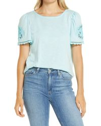 Caslon - Caslon Floral Embroidered T-shirt - Lyst