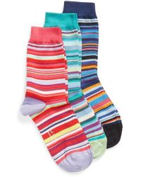 Paul Smith - Gizzy 3-pack Assorted Multi Stripe Crew Socks, Pink - Lyst