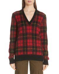 Michael Kors - Genuine Calf Hair Elbow Patch Tartan Sweater - Lyst