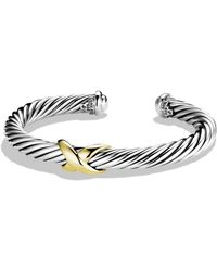 David Yurman X Bracelet With 14k Gold - Metallic