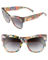 Moschino - 53mm Cat's Eye Sunglasses - Purple Black Multi - Lyst
