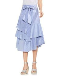 Vince Camuto - Mixed Media Tiered Cotton Blend Ruffle Skirt - Lyst