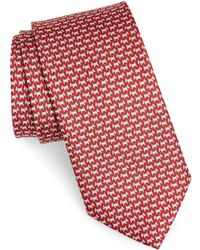 Ferragamo Dog Print Silk Tie - Red