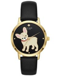 Kate Spade - Grand Metro Bulldog Leather Strap Watch - Lyst