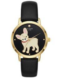 Kate Spade | Grand Metro Bulldog Leather Strap Watch | Lyst