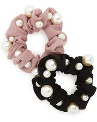 Cara - 2-pack Imitation Pearl Scrunchies, Black - Lyst