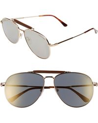 7b592097876 Tom Ford - Sean 61mm Aviator Sunglasses - Shiny Rose Gold  Smoke Mirror -  Lyst