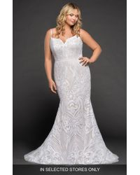 fdf6b5f9326 THEIA Beaded Strapless Mermaid Gown in White - Lyst