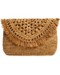 Nordstrom Raffia Envelope Clutch - Natural