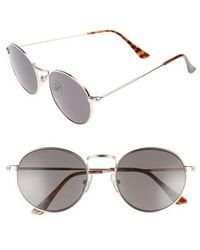 Nordstrom - 1901 Lewis 54mm Round Sunglasses - Gunmetal/ Blue - Lyst
