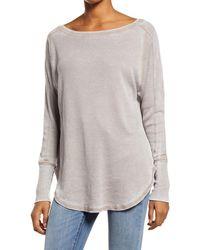 Treasure & Bond Thermal Knit Shirttail Hem Long Sleeve Tee - Gray