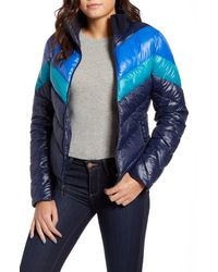 Marc New York Chevron Puffer Jacket - Blue
