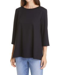 Eileen Fisher Jewel Neck Swing Top - Black