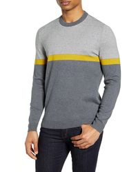 Ted Baker Pushit Slim Fit Colorblock Crewneck Sweater - Gray
