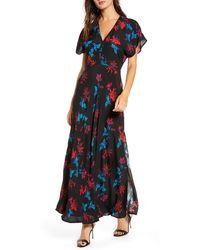 Leith Savvy Floral V-neck Maxi Dress - Black