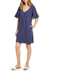 Tommy Bahama Vista Stripe V-neck Shift Dress - Blue