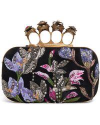 Alexander McQueen Jeweled Butterfly Box Clutch Bag - Black