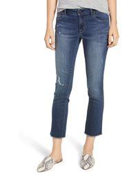1822 Denim - Distressed Ankle Straight Leg Crop Jeans - Lyst