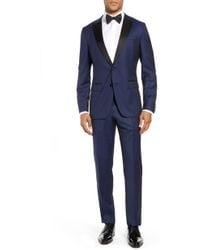 BOSS Slim-fit Tuxedo In Virgin Wool With Silk Trims - Blue