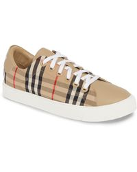 Burberry - Vintage Check And Leather Sneakers - Lyst
