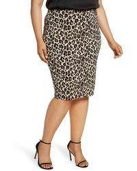 Vince Camuto Plus Leopard-print Pencil Skirt - Black