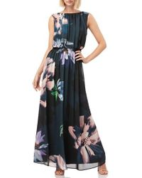 Kay Unger - Floral Print Chiffon Gown - Lyst