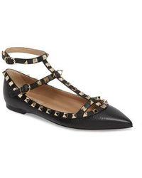 Valentino - Rockstud Ankle Strap Pointy Toe Flat - Lyst