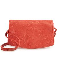 Sondra Roberts Floral Embossed Faux Leather Crossbody Bag - Coral - Multicolor