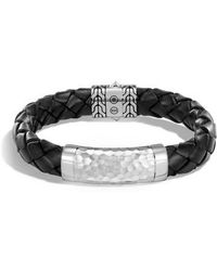 John Hardy - Classic Leather Chain Hammered Silver Large Bracelet - Lyst