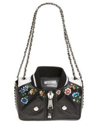 Moschino - Embroidered Floral Bomber Jacket Leather Shoulder Bag - Lyst