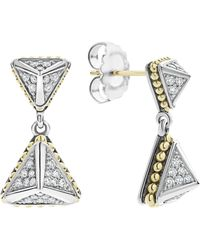 Lagos - Ksl Lux Double Diamond Pyramid Drop Earrings - Lyst
