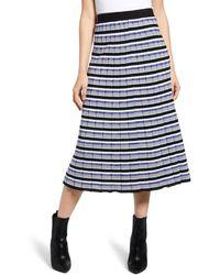 Endless Rose Sunburst Stripe Pleated Sweater Skirt - Blue