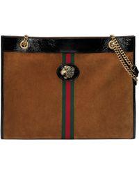 Gucci - Brown Large Suede Rajah Tote - Lyst