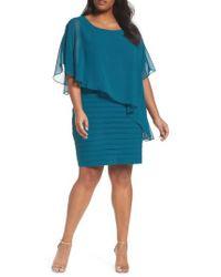 Adrianna Papell | Chiffon Overlay Shutter Pleat Sheath Dress | Lyst