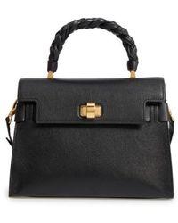 Miu Miu | Madras Click Goatskin Leather Satchel - Burgundy | Lyst