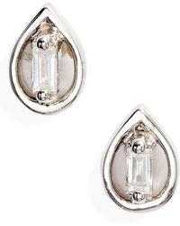 Dana Rebecca Brielle Rose Pear Diamond Stud Earrings - Metallic