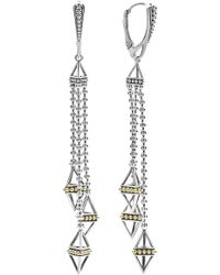 Lagos Caviar Triangle Pyramid Tassel Earrings - Metallic