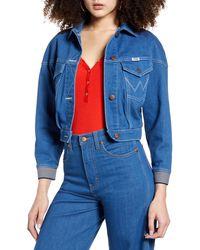 Wrangler Crop Denim Jacket - Blue