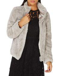 Dorothy Perkins Faux Fur Funnel Collar Jacket - Metallic
