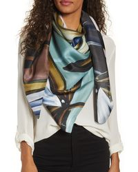 Echo Painted Tulip Square Silk Scarf - Blue