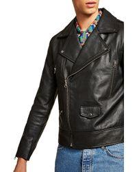 TOPMAN Classic Fit Leather Biker Jacket - Black