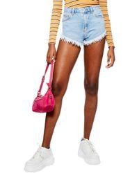 TOPSHOP Kiri Cutoff High Waist Shorts - Multicolour