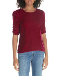 Rebecca Taylor - Ruched Sleeve Velvet Top - Lyst