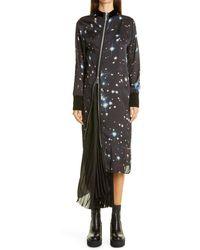 Sacai Star Print Asymmetrical Pleated Long Sleeve Satin Dress - Black