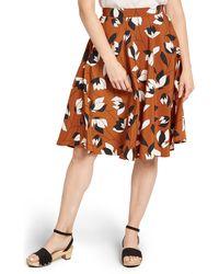ModCloth Floral Print Circle Skirt - Brown