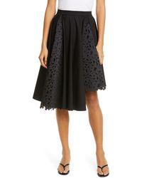 Paskal Atlas Laser Cut Butterfly Asymmetrical Skirt - Black