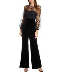 Eliza J Flocked Dot Mesh & Velvet Long Sleeve Jumpsuit - Black
