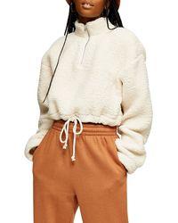 TOPSHOP Cream Crop Funnel Borg Sweatshirt - Natural