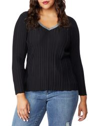 REBEL WILSON X ANGELS Sparkle V-neck Sweater - Black